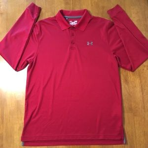 Long Sleeve Red UnderArmour Polo